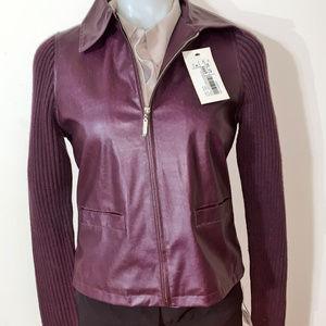 Suchita Burgundy jacket faux leather/Wool